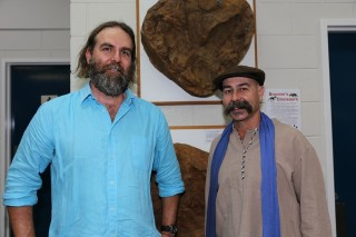 Palaeontologist Dr Steve Salisbury wit Ian Perdrisat. Steve's talk on recording dinosaur track sites on Broome's coast was lively and riveting.© Kandy Curran